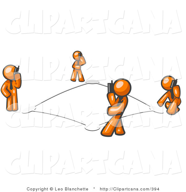 Vector Clip Art of a Wireless Telephone Network of Four Orange Men Talking on Cell Phones