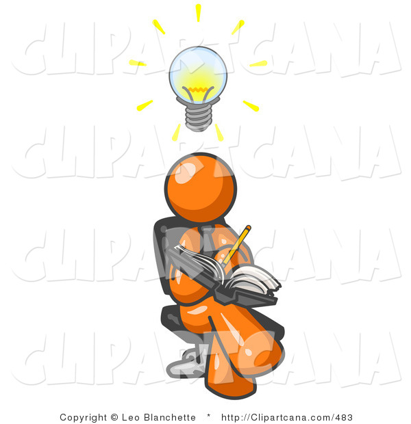 Vector Clip Art Of An Intelligent Orange Man Seated With His Legs Crossed Brainstorming And