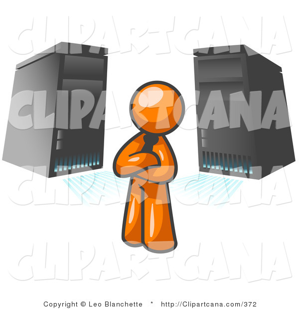 Vector Clip Art of an Orange Business Man Standing in Front of Black Servers