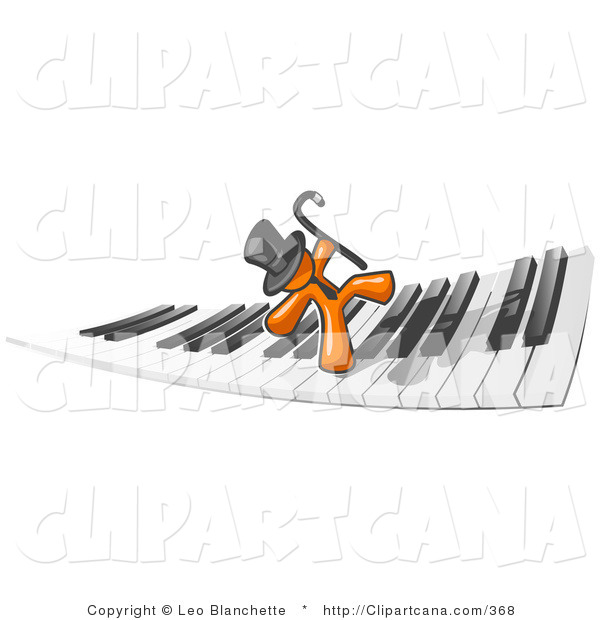 Vector Clip Art of an Orange Businessman Dancing and Walking on a Piano Keyboard