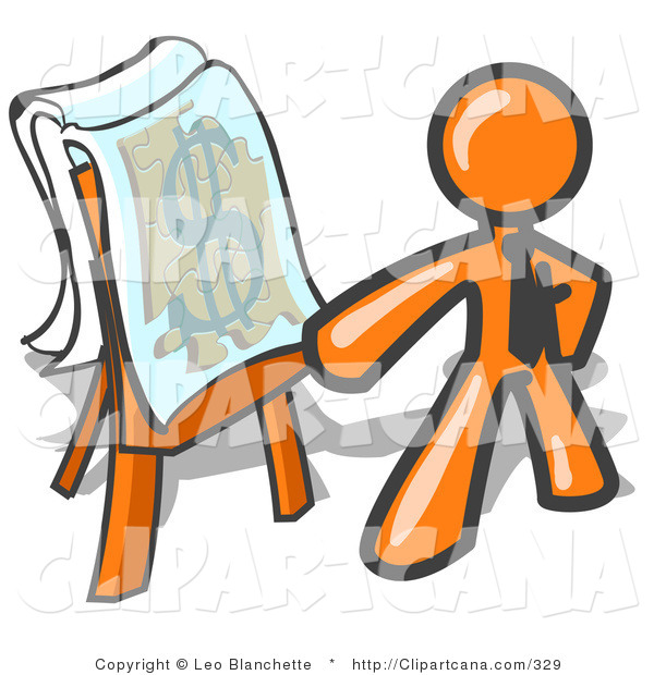 Vector Clip Art of an Orange Businessperson Standing by a Dollar Sign Puzzle on a Presentation Board During a Meeting