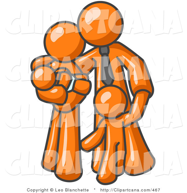 Vector Clip Art of an Orange Family Businessman, a Father, Hugging His Wife and Two Children
