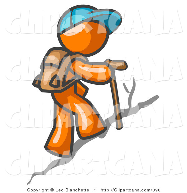 Vector Clip Art of an Orange Guy Backpacking and Hiking Uphill
