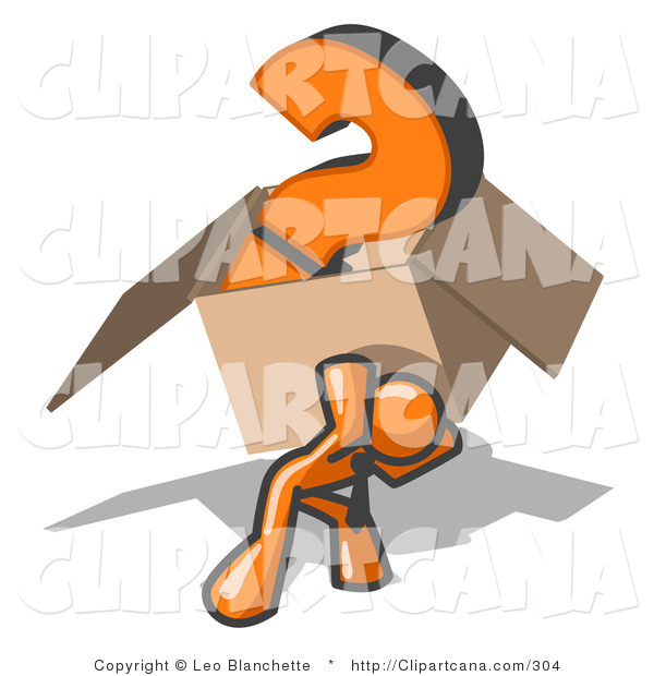 Vector Clip Art of an Orange Man Carrying a Heavy Question Mark in a Cardboard Box