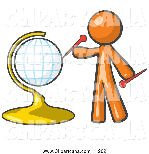 Vector Clip Art of an Orange Man Inserting Pins on a Travel Globe