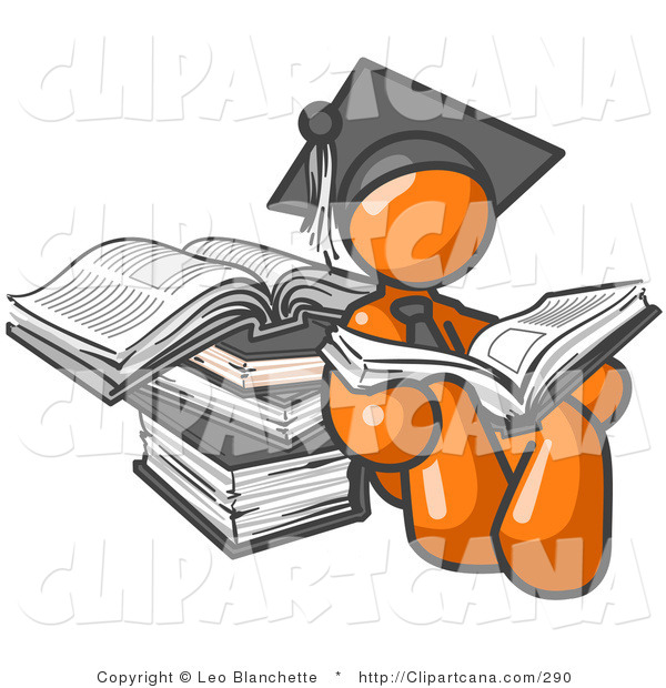 Vector Clip Art of an Orange Student Man in a Graduation Cap, Reading a Book and Leaning Against a Stack of Books