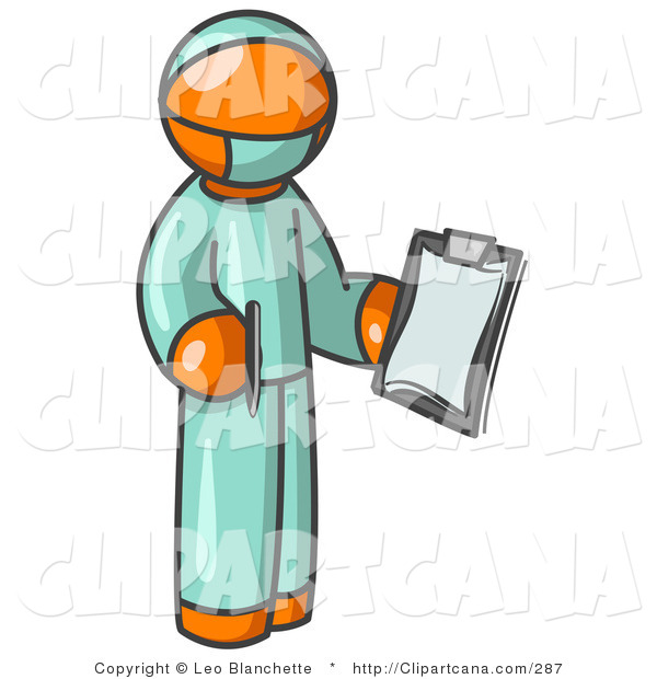 Vector Clip Art of an Orange Surgeon Doctor Man in Green Scrubs, Holding a Clipboard Clipart Illustration