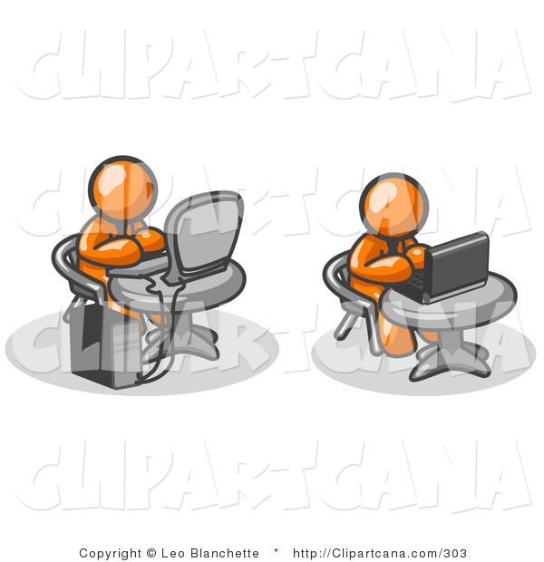 Vector Clip Art of Two Orange Men, Office Employees, Working on Computers in an Office, One Using a Desktop, the Other Using a Laptop