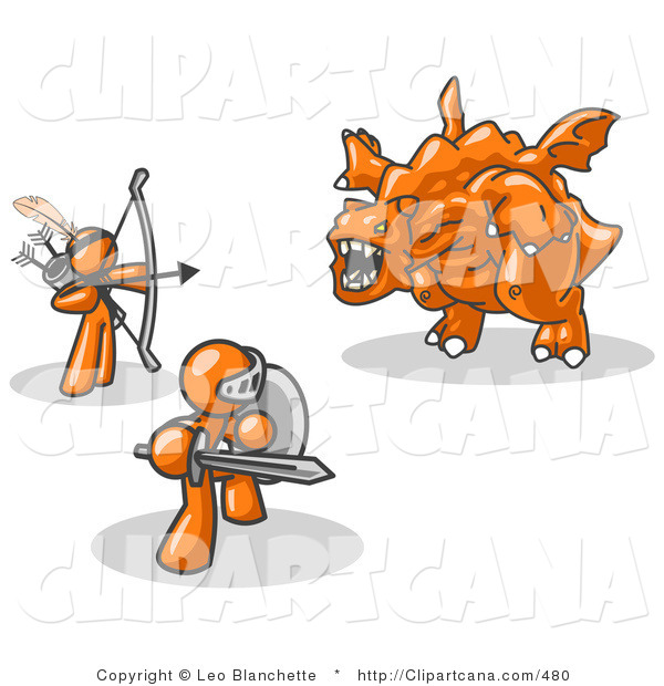 Vector Clip Art of Two Orange Men Working Together to Battle an Obstacle, a Dragon