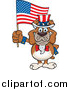 Cartoon Clip Art of a Patriotic Bulldog Waving an American Flag on Independence Day by Dennis Holmes Designs