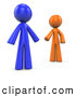 Clip Art of 3d Orange and Blue Factor Men Reaching out to Each Other by Leo Blanchette