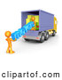 Clip Art of 3d Orange People Carrying the Word Movers to a Truck by 3poD