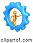 Clip Art of a 3d Orange Businessman Running in a Cog Blue Wheel by 3poD