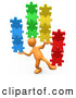 Clip Art of a 3d Orange Man Balancing Stacks of Colorful Puzzle Pieces by 3poD