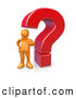 Clip Art of a Confused Orange Person Rubbing His Chin and Standing Beside a Large Red Question Mark Icon by 3poD