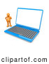 Clip Art of a Confused Orange Person Standing Beside a Blue Laptop Computer with a Blank White Screen, on White by 3poD