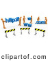 Clip Art of a Construction Zone of Orange Men Carrying Http, Www, and Com Letters on White by 3poD