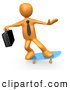 Clip Art of a Cool Orange Businessman Person with a Briefcase, Skateboarding on a Blue Skateboard by 3poD
