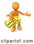 Clip Art of a Friendly 3d Orange Person Tossing up a Pair of Yellow Dice, Symbolizing Chance and Risk by 3poD