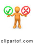 Clip Art of a Friendly Orange Person Holding His Arms out with a Green Check Mark and a Red X in His Hands, Symbolizing Approval and Denial by 3poD