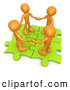 Clip Art of a Group of Four Orange People Holding Hands While Standing on Connected Green Puzzle Pieces, Symbolizing Teamwork by 3poD