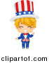 Clip Art of a Happy Blond White American Boy in an Uncle Sam Costume by BNP Design Studio