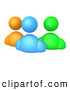 Clip Art of a Orange, Blue and Green Diverse Avatar People Standing Side by Side Icon by 3poD