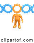 Clip Art of a Orange Person with a Cog Head Connected to Blue Gears, Symbolizing Inventing and Creativity and Imagination by 3poD