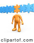 Clip Art of a Orange Person with a Completed Puzzle Piece As a Head, Connected to Blue Pieces by 3poD