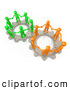 Clip Art of a Pair of Gears Working Togther with Orange and Green People Holding Hands and Standing on Top of Them by 3poD