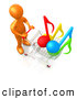 Clip Art of a Shiny Orange Person Pushing a Shopping Cart with Music Notes in It, Symbolizing Internet Music Downloads by 3poD