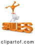 Clip Art of a Shopping Cart Mounted over Big Orange Text Reading SALES by 3poD