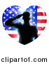 Clip Art of a Silhouetted Male Military Veteran Saluting in an American Flag Heart and Bursts by AtStockIllustration