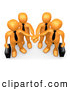 Vector Cartoon Clip Art of a Group of Orange Business People Carrying Briefcases and Standing with Their Hands Piled, Symbolizing Teamwork by 3poD