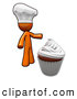 Vector Clip Art of a Chef Orange Man and a Cupcake by Leo Blanchette