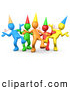 Vector Clip Art of a Group of Colorful People Wearing Party Hats and Blowing Noise Makers While Dancing at a Birthday or New Years Eve Party by 3poD