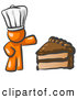 Vector Clip Art of a Orange Chef Man Wearing a White Hat and Presenting a Huge Tasty Slice of Chocolate Cake by Leo Blanchette