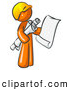 Vector Clip Art of a Orange Man Contractor or Architect Holding Rolled Blueprints and Designs and Wearing a Yellow Worker Hardhat by Leo Blanchette