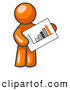 Vector Clip Art of a Orange Man Holding an Ascending Bar Graph Displaying an Increase in Profit by Leo Blanchette