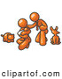 Vector Clip Art of a Proud Orange Family, Father, Mother and Newborn Baby with Their Dog and Cat by Leo Blanchette