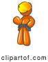 Vector Clip Art of a Shiny Friendly Orange Construction Worker or Handyman Wearing a Hardhat and Tool Belt and Waving by Leo Blanchette